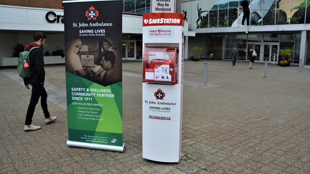Publicly accessible AED station, naloxone kits now outside Vancouver mall