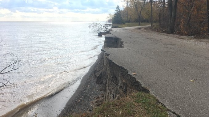 Erosion along Lake Erie in Wheatley Provincial Park on Tuesday, Nov. 5, 2019. (Chris Campbell / CTV Windsor)