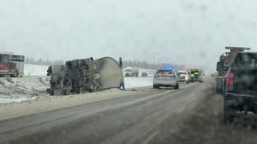 Vehicles in ditch along Highway 2 near Lacombe