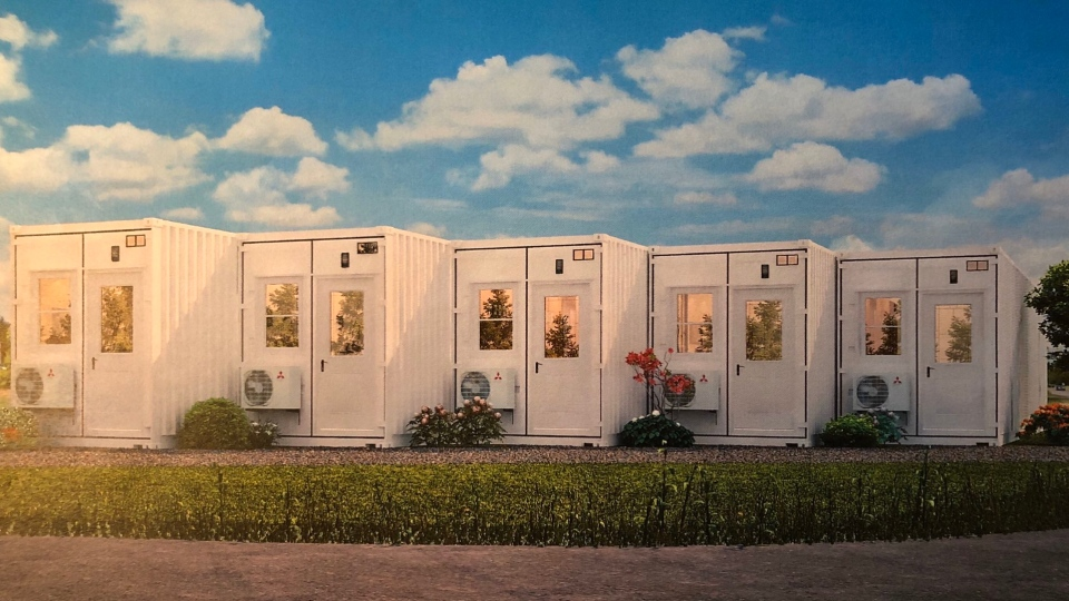 This concept image shows modular shipping container homes that would serve as affordable housing units.