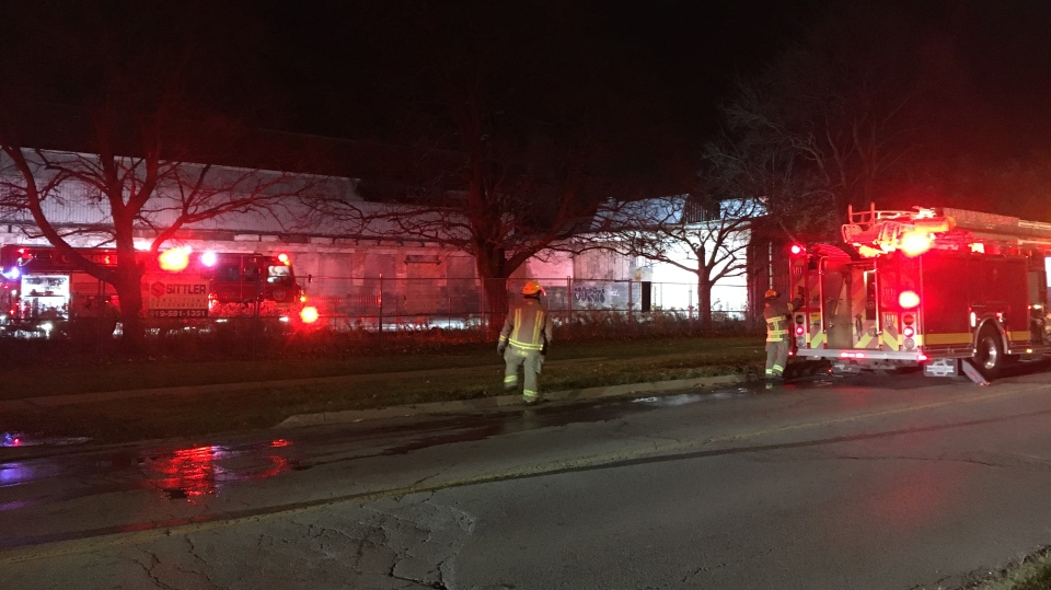 An abandoned building in Cambridge caught fire Tuesday evening for the third time in just over a week. (Terry Kelly / CTV News)