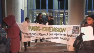 Residents gather outside Parc-Extension borough headquarters on Tuesday, Nov. 5.
