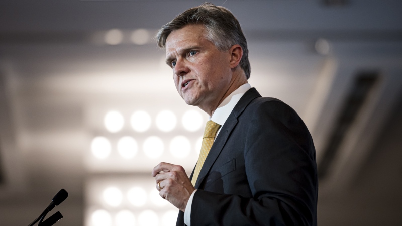 Ontario Minister of Finance Rod Phillips delivers remarks at the Canadian Club Toronto, in Toronto on Thursday, Oct., 10, 2019. THE CANADIAN PRESS/Christopher Katsarov