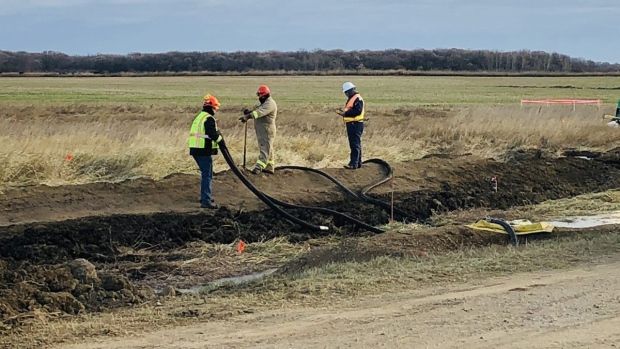 A pipeline leak in a field near Edinburg, N.D.