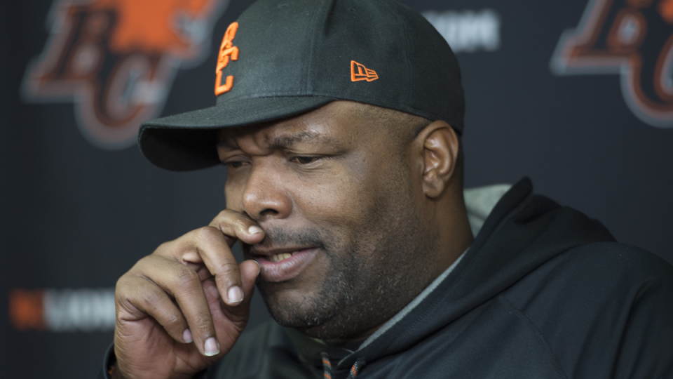 BC Lions head coach DeVone Claybrooks addresses the media at the team's practice facility in Surrey, B.C., Monday, Nov. 4, 2019. THE CANADIAN PRESS/Jonathan Hayward