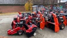 Snow blowers waiting for maintenance
