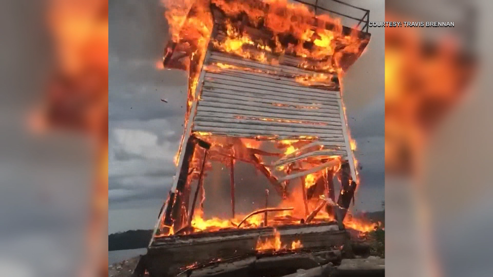 Five Mile Light near Brockville, Ont. destroyed by fire during a lightning storm in July 2018.  A replacement is expected to be built and installed by the summer 2020. (Courtesy: Travis Brennan)
