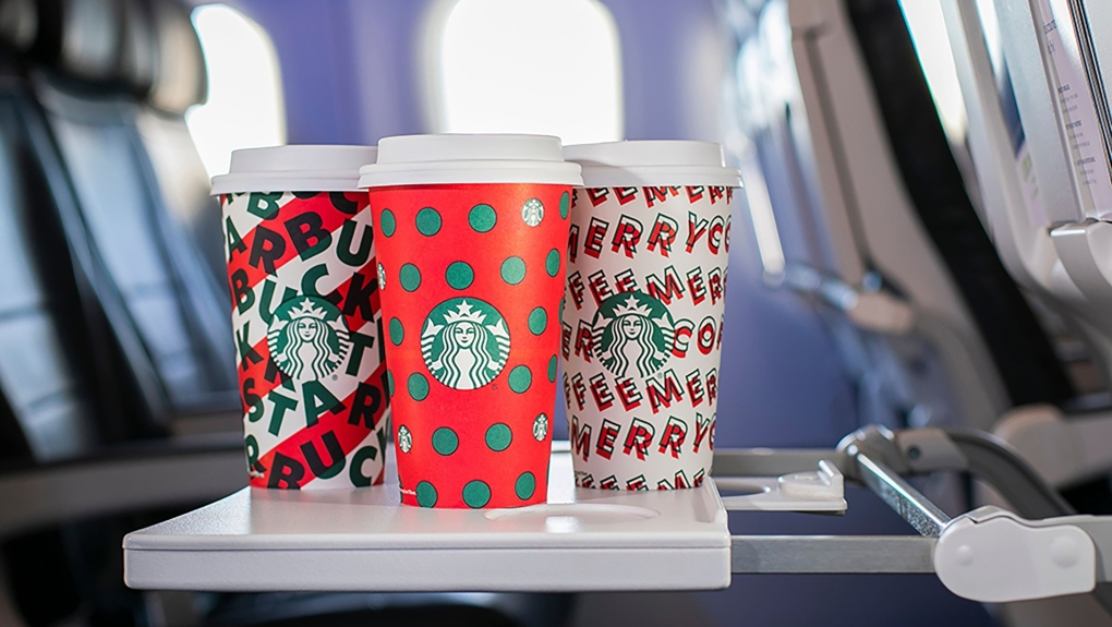 Starbucks' holiday-themed coffee cups