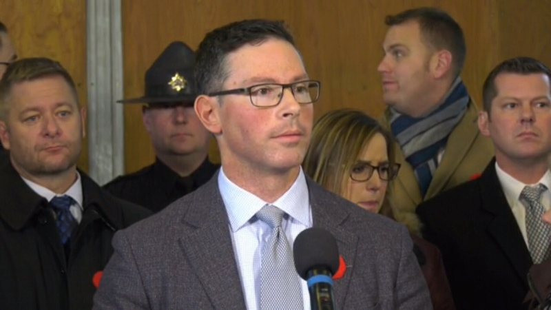 Justice Minister Doug Schweitzer at rural crime press conference in Wetaskiwin. Wednesday Nov. 6, 2019 (CTV News Edmonton)