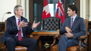 Prime Minister Justin Trudeau meets with Manitoba Premier Brian Pallister, left, on Parliament Hill, in Ottawa on Wednesday, May 29, 2019.  THE CANADIAN PRESS/Adrian Wyld