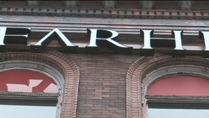 The Farhi Holdings sign is seen on the Wright Lithographing Building in London, Ont. on Wednesday, Nov. 6, 2019. (Daryl Newcombe / CTV London)