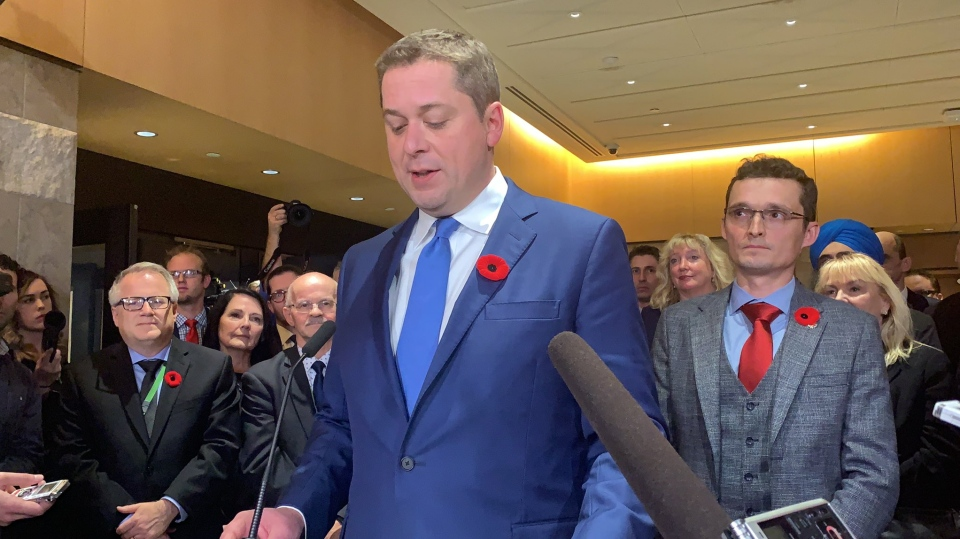 Conservative Leader Andrew Scheer speaks to reporters after a party caucus meeting in Ottawa on Wednesday, Nov. 6, 2019. (Rachel Aiello / CTV News)