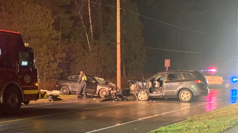 A fatal two-vehicle crash on Townline Road in Cambridge is seen here on Nov. 6, 2019. (Jeff Pickel / CTV News)