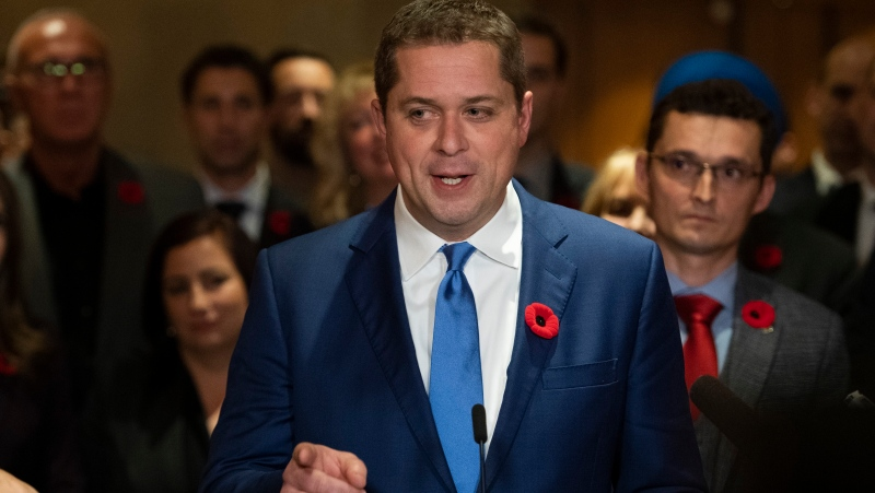 Conservative leader Andrew Scheer speaks to reporters following a caucus meeting on Parliament Hill in Ottawa, on Wednesday, Nov. 6, 2019. THE CANADIAN PRESS/Justin Tang