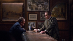 This image released by Netflix shows Joe Pesci, left, and Robert De Niro in a scene from 'The Irishman.' (Niko Tavernise/Netflix via AP)