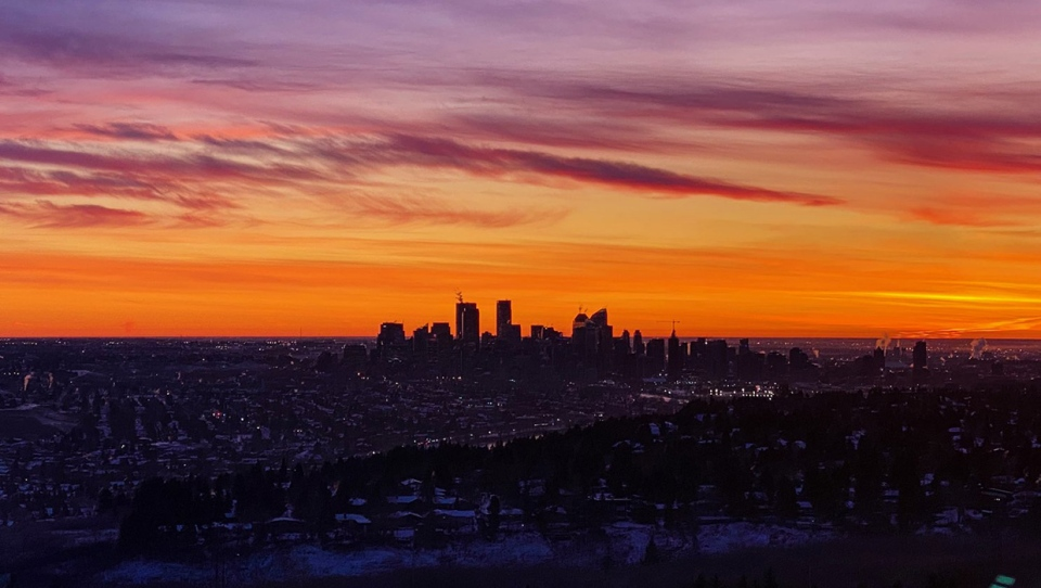 Calgary, sunrise, skyline