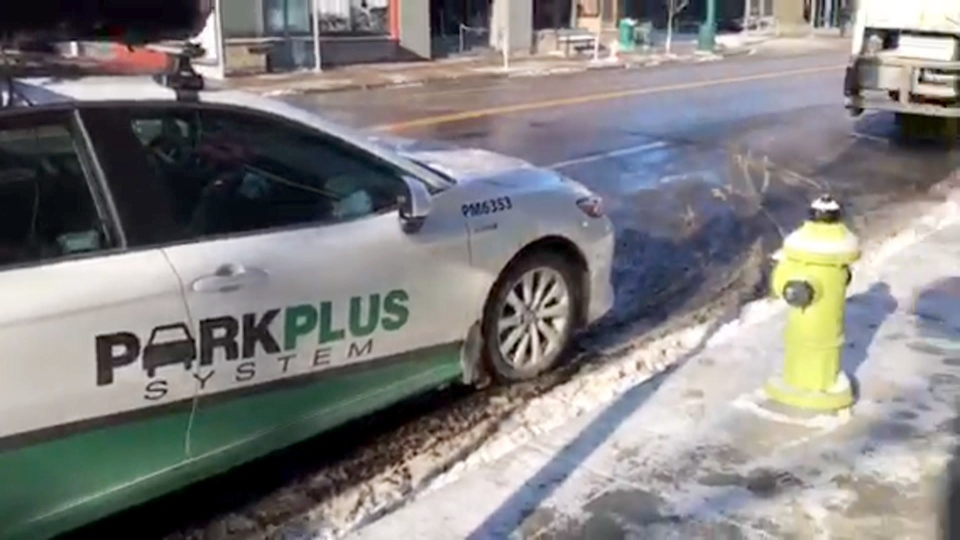 A video shows a Calgary Parking Authority vehicle left in front of a fire hydrant on Fourth Street S.W.