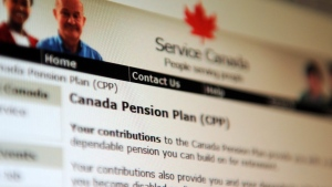 Information regarding the Canadian Pension Plan is displayed of the service Canada website in Ottawa on Tuesday, January 31, 2012. (THE CANADIAN PRESS/Sean Kilpatrick)