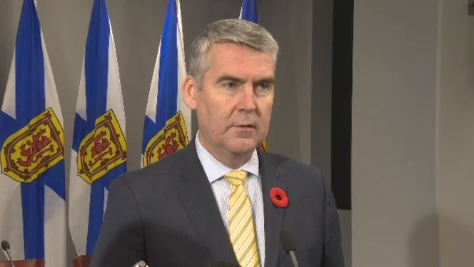 Nova Scotia Premier Stephen McNeil speaks to reporters on Nov. 7, 2019.
