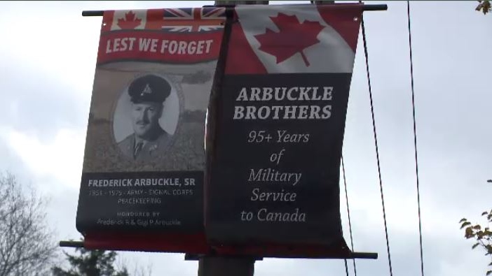 Fred Arbuckle put up seven banners for seven brothers, who all grew up on Arbuckle Road in Port Caledonia, N.S., and served a combined 95 years in the Canadian Armed Forces.