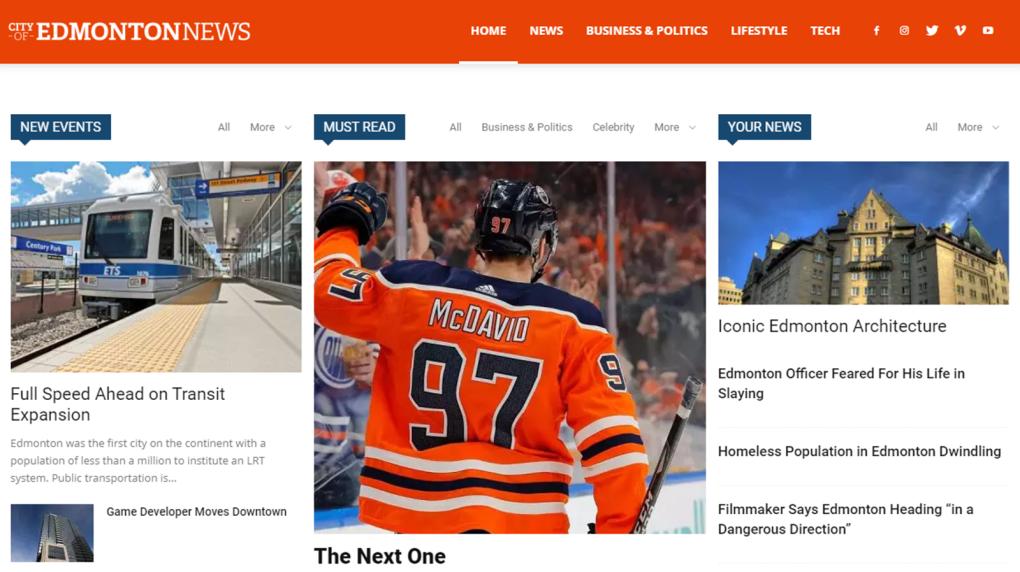 City of Edmonton News website