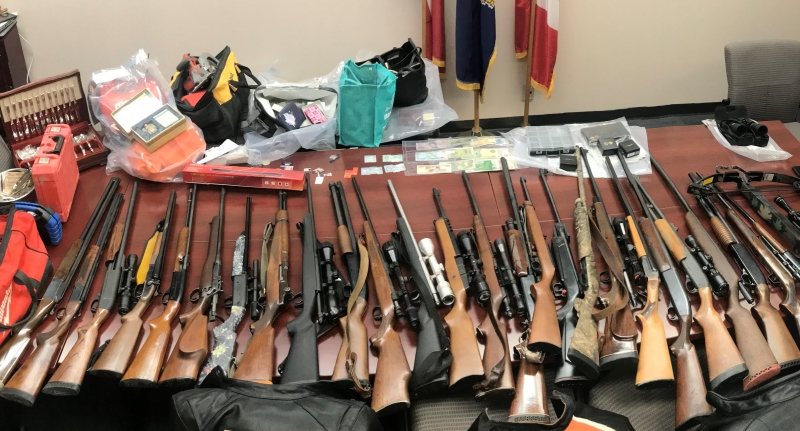 OPP display items they say were stolen from homes while people attended funerals. (Source: Elgin County OPP)