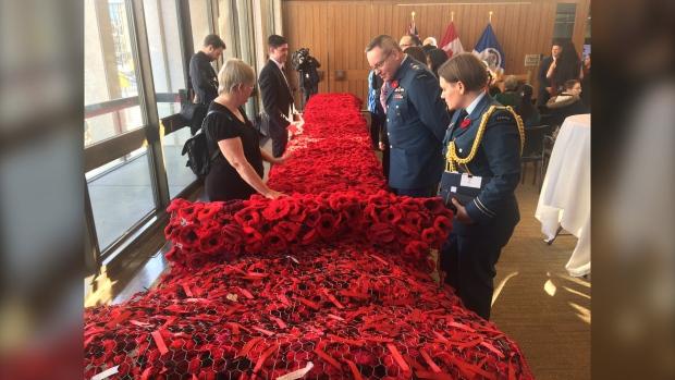 A poppy blanket made from 8,000 poppies honours fallen soldiers (Source: Jamie Dowsett/CTV News Winnipeg)