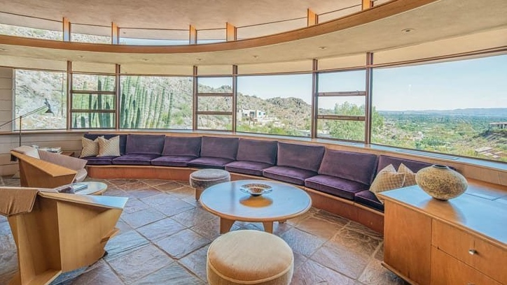 Nicknamed the 'Circular Sun House,' this design features a natural integration of the home's surroundings. (Heritage Auctions)