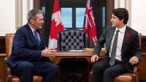 Prime Minister Justin Trudeau meets with Manitoba Premier Brian Pallister in his office on Parliament Hill in Ottawa, on Friday, Nov. 8, 2019. THE CANADIAN PRESS/Justin Tang