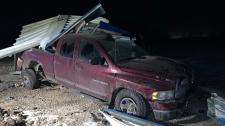 Truck crash into gas station