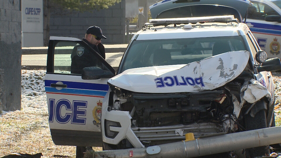 An Ottawa officer and another driver suffered minor injuries when their vehicles collided during a police investigation in the city's east end Friday, November 8, 2019.