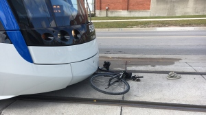 Emergency crews responded after noon to a crash between an LRT and a bicycle. (Nicole Lampa / CTV Kitchener)