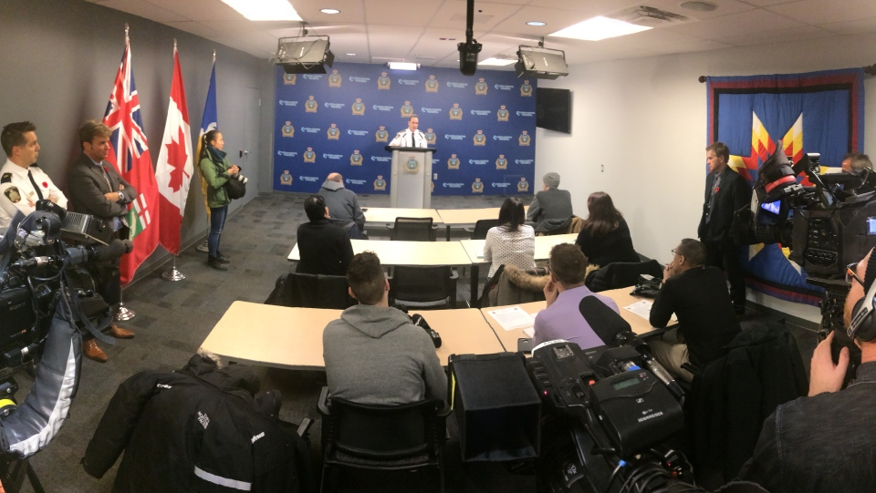 WPS Chief Danny Smyth addresses the media regarding the recent violent incidents in Winnipeg. (Jamie Dowsett/CTV News)
