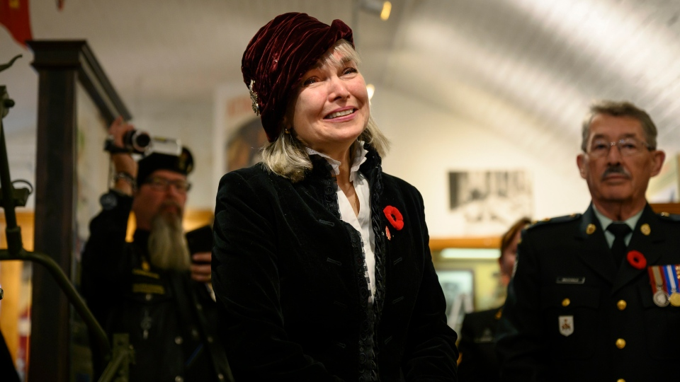 Rosalee Peppard, the daughter of the late Second World War Sergeant Herb Peppard, is emotional at the unveiling of a new First Special Service Force exhibit featuring Sergeant Peppard's memorabilia at the Army Museum Halifax Citadel in Halifax on Friday, November 8, 2019. (THE CANADIAN PRESS/Darren Calabrese)