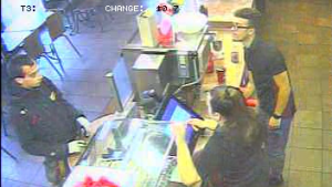 Police allege the men at the left of this picture stole several poppy campaign donation boxes in Laval. (Photo: Service de Police de Laval)