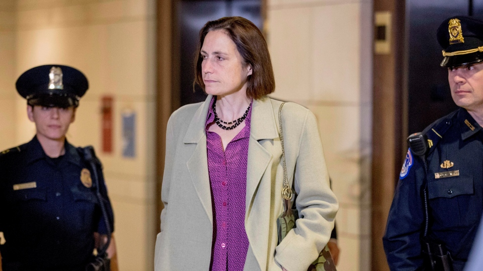 Former White House advisor on Russia, Fiona Hill arrives for a closed door meeting as part of the House impeachment inquiry into President Donald Trump on Capitol Hill in Washington, Monday, Nov. 4, 2019. (AP Photo/Andrew Harnik)