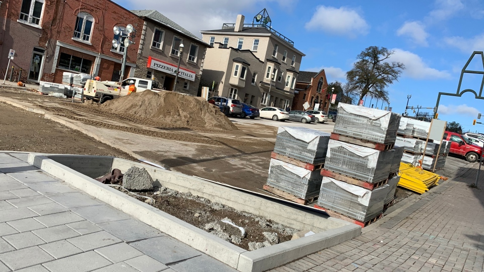 A massive construction project along Dunlop Street in Barrie wraps up for the winter. Nov. 8, 2019 (Craig Momney/CTV News)