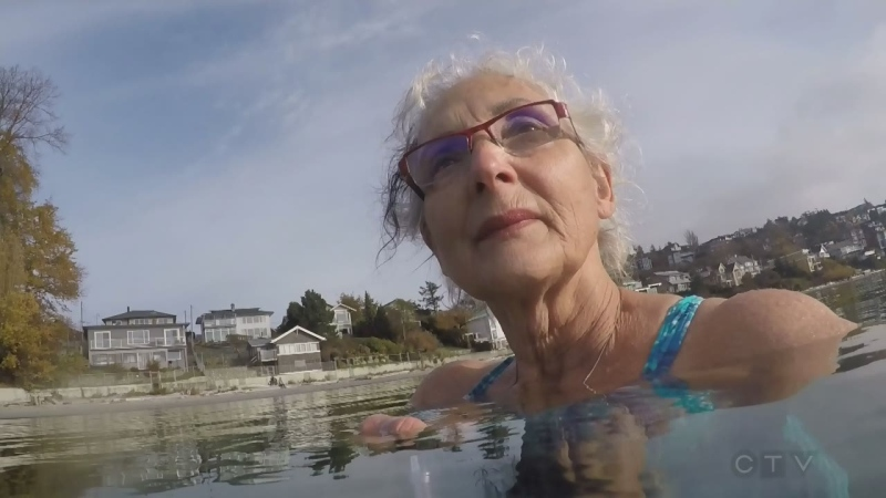 Lynda is pictured neck deep in the waters off Gonzales Beach.