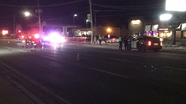 Two pedestrians were struck by a vehicle on Mill Street in Angus, Ont. on Nov. 9, 2019 (Dave Erskine/CTV Barrie)