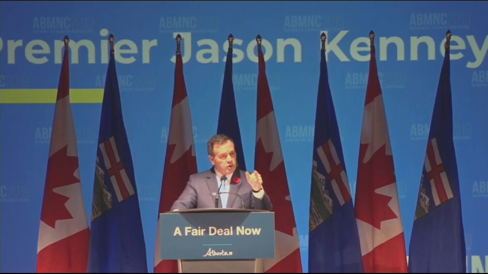 Jason Kenney, speaking at a Manning Centre conference in Red Deer on Nov. 9, 2019, announced a plan to get a fairer deal for Alberta in the Canadian federation.