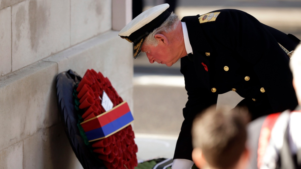 Prince Charles lays a wreath during the Remembrance Sunday ceremony at the Cenotaph in Whitehall in London, Sunday, Nov. 10, 2019. (AP Photo/Matt Dunham)