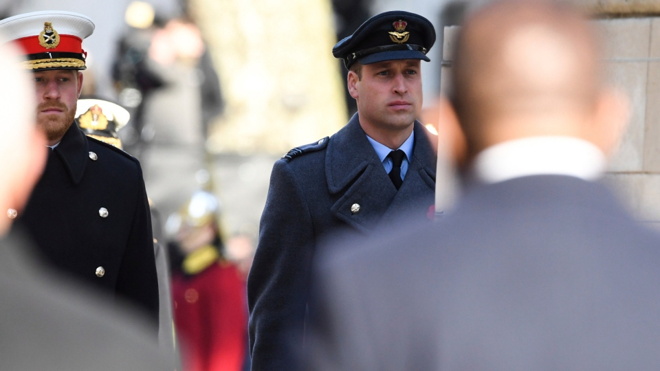 Prince Harry and Prince William during the Remembrance Sunday service at the Cenotaph memorial in Whitehall, central London, Sunday, Nov. 10, 2019. (Paul Randall/Ministry of Defence via AP)