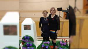 Rita Olink, right, is a member of TG Innerselves, a group that will honour LGBTQ veterans on Remembrance Day.