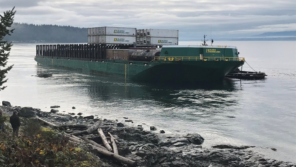 No sign of pollution after barge runs aground off Quadra Island
