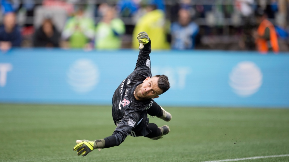 Toronto FC goalkeeper Quentin Westberg (16) looks back as the Seattle Sounders score during second half MLS Cup soccer action in Seattle on Sunday, Nov. 10, 2019. THE CANADIAN PRESS/Jonathan Hayward