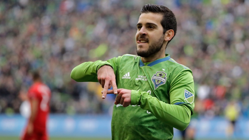 Seattle Sounders' Victor Rodriguez celebrates after scoring against the Toronto FC, Sunday, Nov. 10, 2019, during the second half of the MLS Cup championship soccer match in Seattle. (AP Photo/Ted S. Warren)