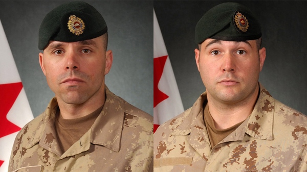 Maj. Yannick Pepin, 36, and Cpl. Jean-Francois Drouin, 31, are shown in undated handout photos. Two Canadian soldiers were killed by roadside bomb blast in Afghanistan on Sunday, Sept. 6, 2009. (Department of National Defence)