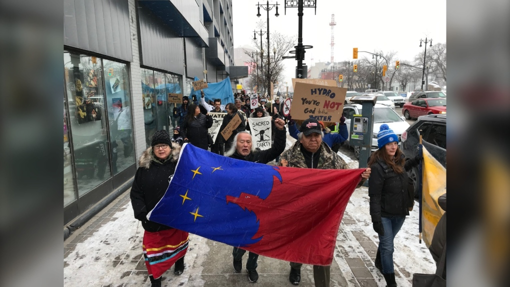 The group rallying in Winnipeg to bring attention to hydro-impacted first nations