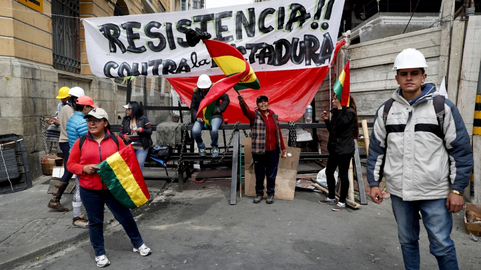 Protest near the presidential palace in La Paz