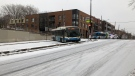 A Société de transport de Montréal bus slid sideways in Montreal's Sud-Ouest borough. (Jean-Luc Boulch/CTV News)